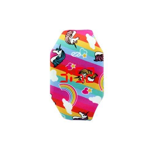AIUIN 1X Boys Girls LED Sport Watch Child Casual Smart Watch Silicone Rainbow Unicorn Pattern Student Gift Wrist… 1