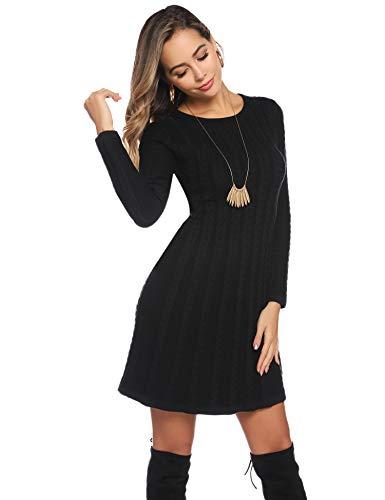 Abollria Womens Turtle Neck Long Sleeve Bodycon Cable Twist Knitted Jumper Knitwear Sweater Dress 3