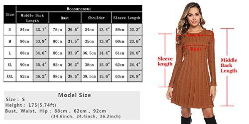 Abollria Womens Turtle Neck Long Sleeve Bodycon Cable Twist Knitted Jumper Knitwear Sweater Dress 4