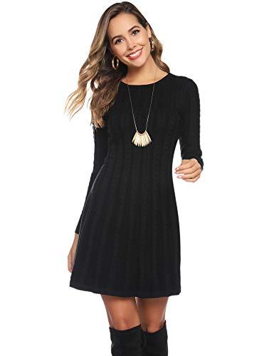 Abollria Womens Turtle Neck Long Sleeve Bodycon Cable Twist Knitted Jumper Knitwear Sweater Dress 5