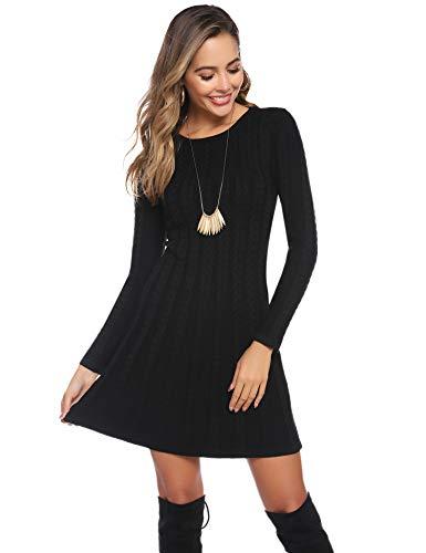 Abollria Womens Turtle Neck Long Sleeve Bodycon Cable Twist Knitted Jumper Knitwear Sweater Dress 6
