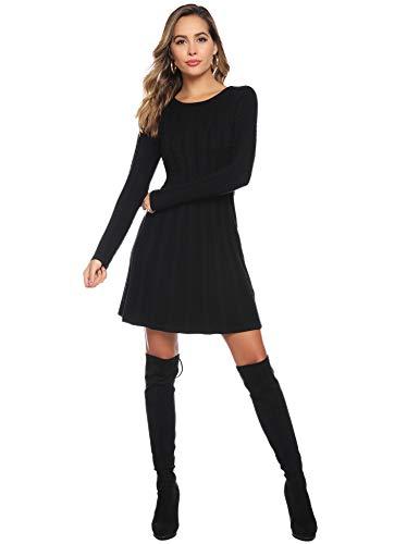 Abollria Womens Turtle Neck Long Sleeve Bodycon Cable Twist Knitted Jumper Knitwear Sweater Dress 7