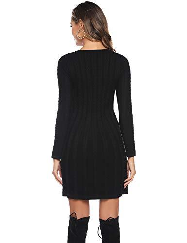 Abollria Womens Turtle Neck Long Sleeve Bodycon Cable Twist Knitted Jumper Knitwear Sweater Dress 8