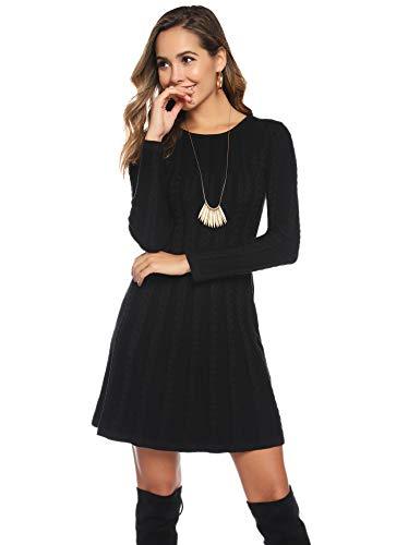 Abollria Womens Turtle Neck Long Sleeve Bodycon Cable Twist Knitted Jumper Knitwear Sweater Dress 1
