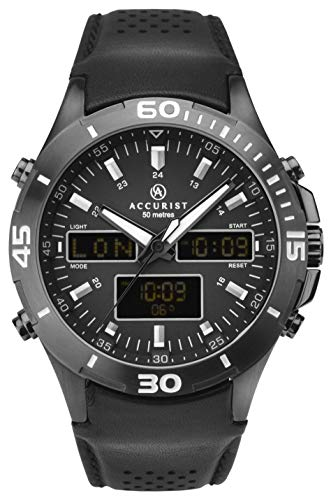 Accurist Watches For Men Stainless Steel Japanese Quartz Sports Chronograph Watch, World Time, Alarm, 99 year Calendar… 1