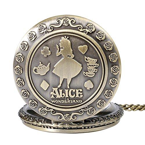 Alice in Wonderland Themed 3D Bronze Effect Women's Quartz Pocket Watch Necklace for Women Girls Mum Sister Teens - On… 3