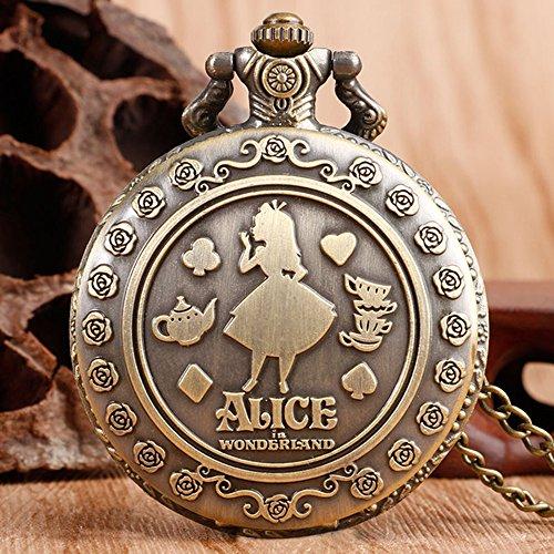 Alice in Wonderland Themed 3D Bronze Effect Women's Quartz Pocket Watch Necklace for Women Girls Mum Sister Teens - On… 4