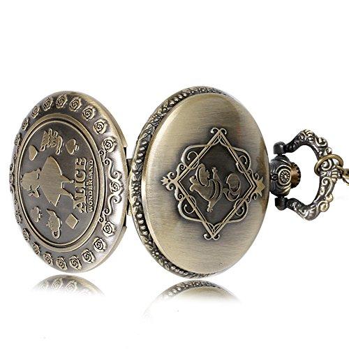 Alice in Wonderland Themed 3D Bronze Effect Women's Quartz Pocket Watch Necklace for Women Girls Mum Sister Teens - On… 5