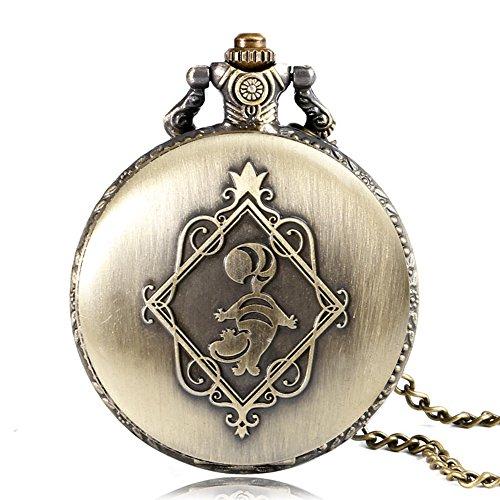 Alice in Wonderland Themed 3D Bronze Effect Women's Quartz Pocket Watch Necklace for Women Girls Mum Sister Teens - On… 8