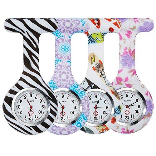 Anpro 4pcs Silicone Nurse Watch Doctor Medical Staff Brooch Fob Watch 5