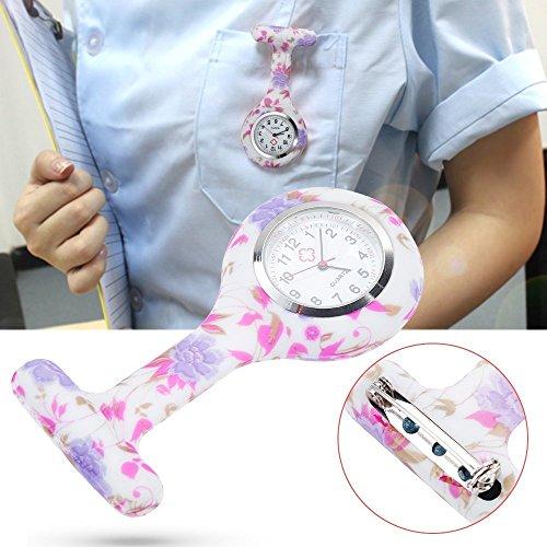 Anpro 4pcs Silicone Nurse Watch Doctor Medical Staff Brooch Fob Watch 7