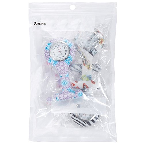Anpro 4pcs Silicone Nurse Watch Doctor Medical Staff Brooch Fob Watch 8