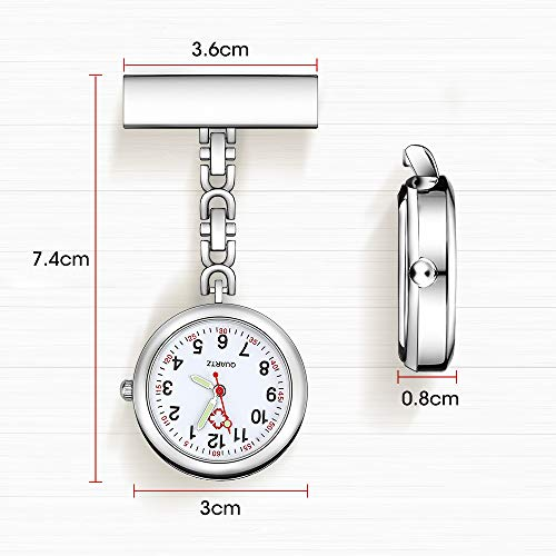 Anpro Nurse Watch,3pcs Silver/Rose Gold/Gold Fob Watch for Nurses and Doctors,Daily Waterproof 3