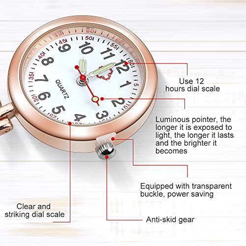 Anpro Nurse Watch,3pcs Silver/Rose Gold/Gold Fob Watch for Nurses and Doctors,Daily Waterproof 4