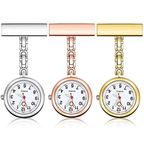 Anpro Nurse Watch,3pcs Silver/Rose Gold/Gold Fob Watch for Nurses and Doctors,Daily Waterproof 1