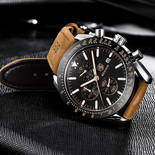 BY BENYAR - Stylish Wrist Watch for Men, Genuine Leather Strap Watches, Perfect Quartz Movement, Waterproof and Scratch… 3