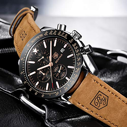 BY BENYAR - Stylish Wrist Watch for Men, Genuine Leather Strap Watches, Perfect Quartz Movement, Waterproof and Scratch… 4