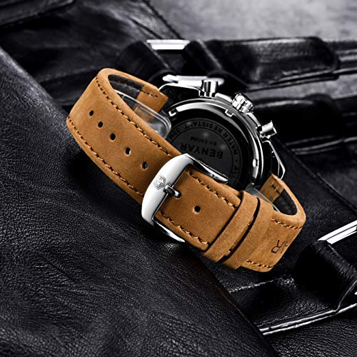 BY BENYAR - Stylish Wrist Watch for Men, Genuine Leather Strap Watches, Perfect Quartz Movement, Waterproof and Scratch… 5