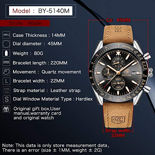 BY BENYAR - Stylish Wrist Watch for Men, Genuine Leather Strap Watches, Perfect Quartz Movement, Waterproof and Scratch… 7