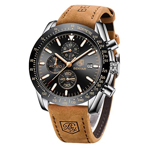 BY BENYAR - Stylish Wrist Watch for Men, Genuine Leather Strap Watches, Perfect Quartz Movement, Waterproof and Scratch… 1
