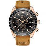 BENYAR Waterproof Chronograph Men Watches Fashion Casual Leather Band Strap Wrist Watch 18