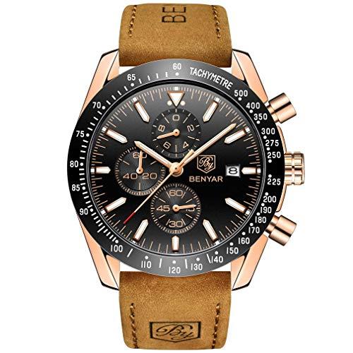 BENYAR Waterproof Chronograph Men Watches Fashion Casual Leather Band Strap Wrist Watch 3