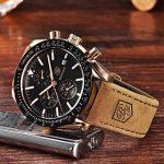 BENYAR Waterproof Chronograph Men Watches Fashion Casual Leather Band Strap Wrist Watch 19