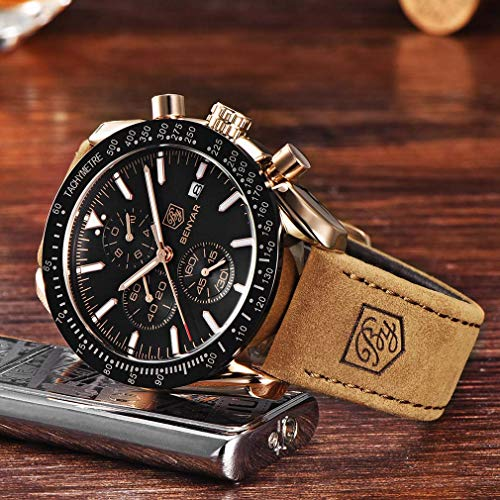 BENYAR Waterproof Chronograph Men Watches Fashion Casual Leather Band Strap Wrist Watch 4
