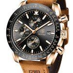 BENYAR Waterproof Chronograph Men Watches Fashion Casual Leather Band Strap Wrist Watch 17