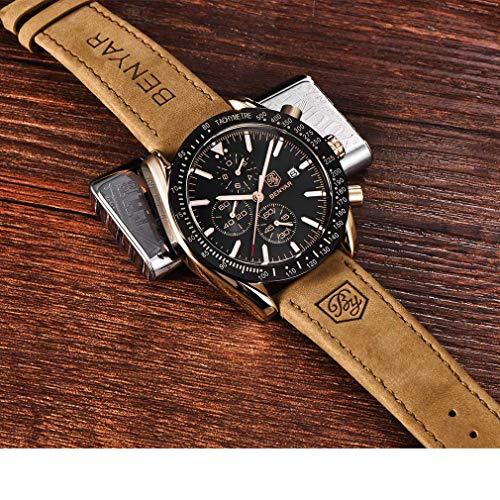 BENYAR Waterproof Chronograph Men Watches Fashion Casual Leather Band Strap Wrist Watch 5