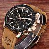 BENYAR Waterproof Chronograph Men Watches Fashion Casual Leather Band Strap Wrist Watch 14