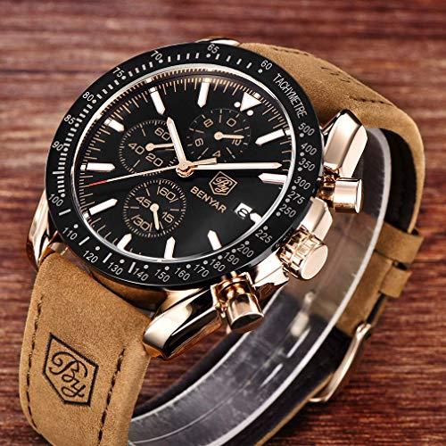 BENYAR Waterproof Chronograph Men Watches Fashion Casual Leather Band Strap Wrist Watch 6
