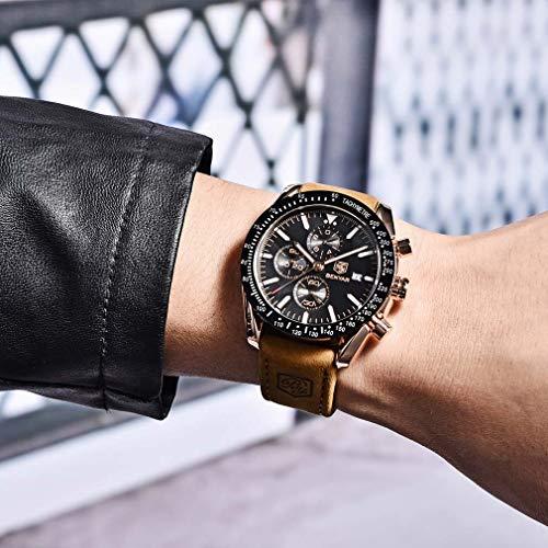 BENYAR Waterproof Chronograph Men Watches Fashion Casual Leather Band Strap Wrist Watch 7