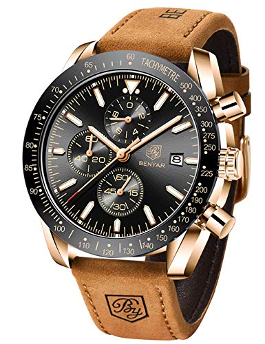 BENYAR Waterproof Chronograph Men Watches Fashion Casual Leather Band Strap Wrist Watch 1