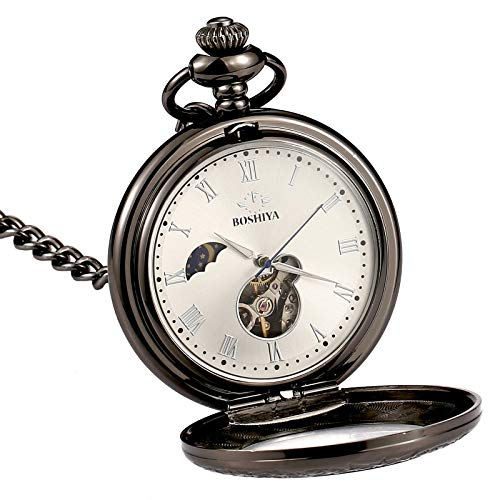 BOSHIYA Mechanical Magnifier Glass Cover Roman Numerals Dial Skeleton Automatic Pocket Watches with Gift Box and Chain… 1