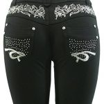 Barfly Fashion New Plus Size Ladies Stretchy Black Diamante Embroidery Skinny Slim Fit Jeans Jeggings Leggings UK Size 8… 17