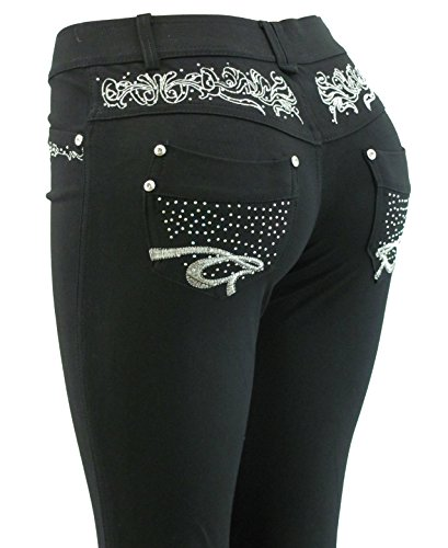 Barfly Fashion New Plus Size Ladies Stretchy Black Diamante Embroidery Skinny Slim Fit Jeans Jeggings Leggings UK Size 8… 5