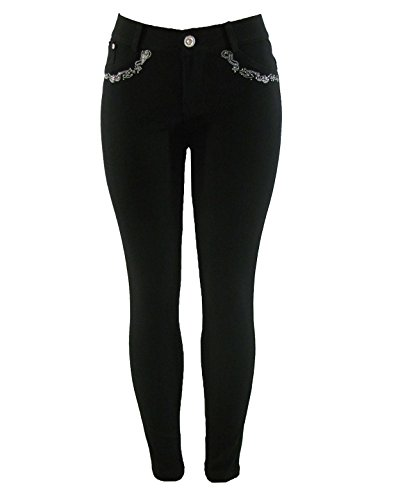 Barfly Fashion New Plus Size Ladies Stretchy Black Diamante Embroidery Skinny Slim Fit Jeans Jeggings Leggings UK Size 8… 7