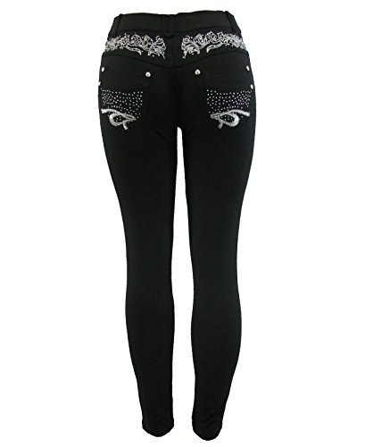 Barfly Fashion New Plus Size Ladies Stretchy Black Diamante Embroidery Skinny Slim Fit Jeans Jeggings Leggings UK Size 8… 1