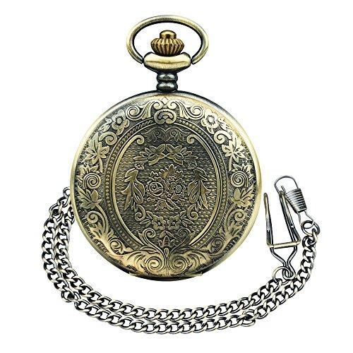 BestFire Pocket Watch Vintage Quartz Pocket Watch Classical Sculptured Fob Pocket Watch with Short Chain for Men Women… 3