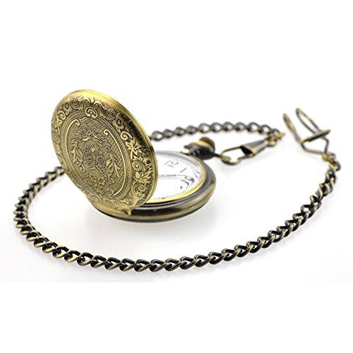 BestFire Pocket Watch Vintage Quartz Pocket Watch Classical Sculptured Fob Pocket Watch with Short Chain for Men Women… 4