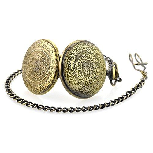 BestFire Pocket Watch Vintage Quartz Pocket Watch Classical Sculptured Fob Pocket Watch with Short Chain for Men Women… 5