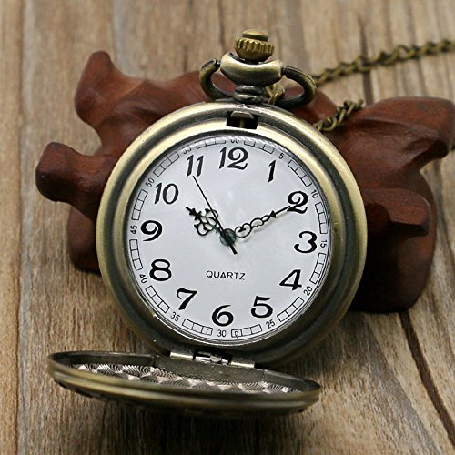 BestFire Pocket Watch Vintage Quartz Pocket Watch Classical Sculptured Fob Pocket Watch with Short Chain for Men Women… 8