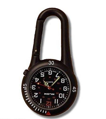 Black Clip on Carabiner Belt FOB Watch for Doctors Nurses Paramedics Chefs 1
