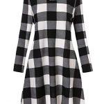 Blooming Jelly Ladies Plaid Dress Long Sleeve Swing Jumper Winter T Shirt Dresses for Women 19