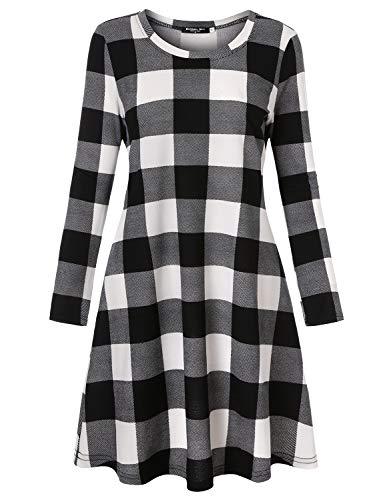 Blooming Jelly Ladies Plaid Dress Long Sleeve Swing Jumper Winter T Shirt Dresses for Women 4