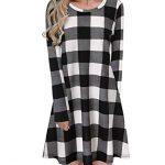 Blooming Jelly Ladies Plaid Dress Long Sleeve Swing Jumper Winter T Shirt Dresses for Women 17