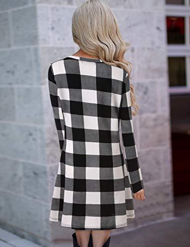 Blooming Jelly Ladies Plaid Dress Long Sleeve Swing Jumper Winter T Shirt Dresses for Women 7