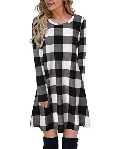 Blooming Jelly Ladies Plaid Dress Long Sleeve Swing Jumper Winter T Shirt Dresses for Women 1