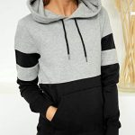 Blooming Jelly Women's Long Sleeve Hoodie Pullover Sweatshirt Patchwork Striped Jumper with Kanga Pocket Top 14